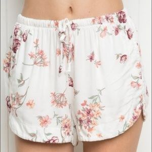 Brandy Melville white floral drawstring shorts OS